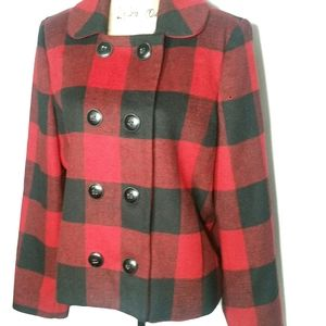 Wool Double Breasted Checkered Coat Black Red